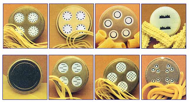 Different pasta dies from the Lello 2730 3000 Pastamaster